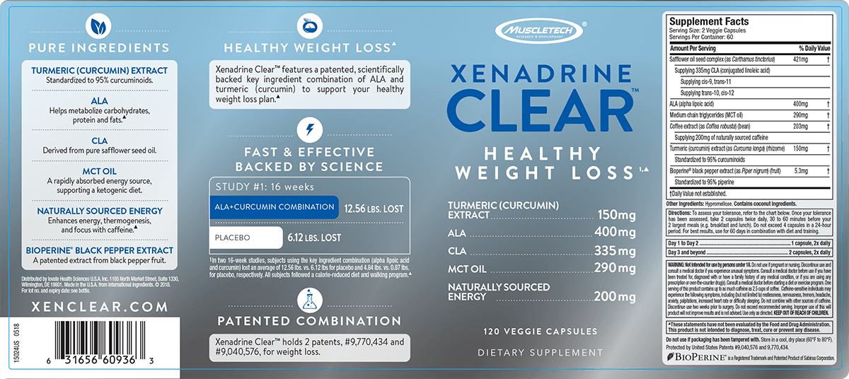 Xenadrine Clear label